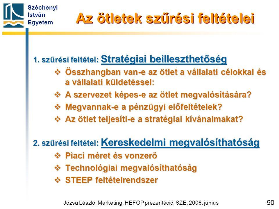 Széchenyi István Egyetem Józsa László: Marketing. HEFOP prezentáció, SZE, 2006. június 90 Az ötletek szűrési feltételei 1. szűrési feltétel: Stratégia