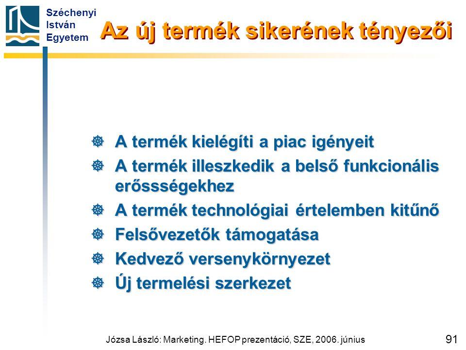 Széchenyi István Egyetem Józsa László: Marketing. HEFOP prezentáció, SZE, 2006. június 91 Az új termék sikerének tényezői  A termék kielégíti a piac