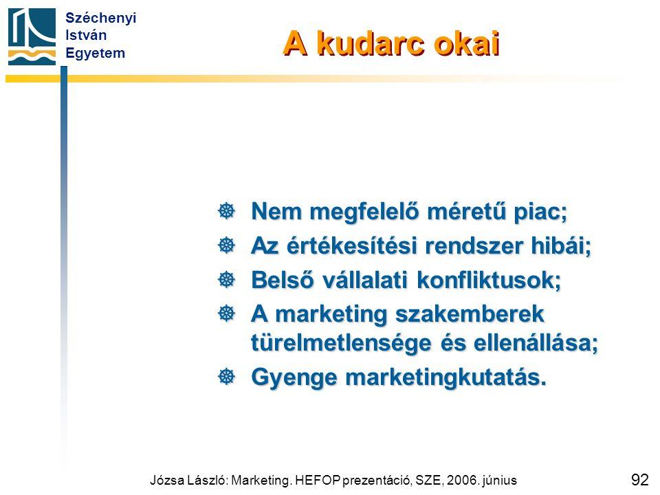 Széchenyi István Egyetem Józsa László: Marketing. HEFOP prezentáció, SZE, 2006. június 92 A kudarc okai  Nem megfelelő méretű piac;  Az értékesítési