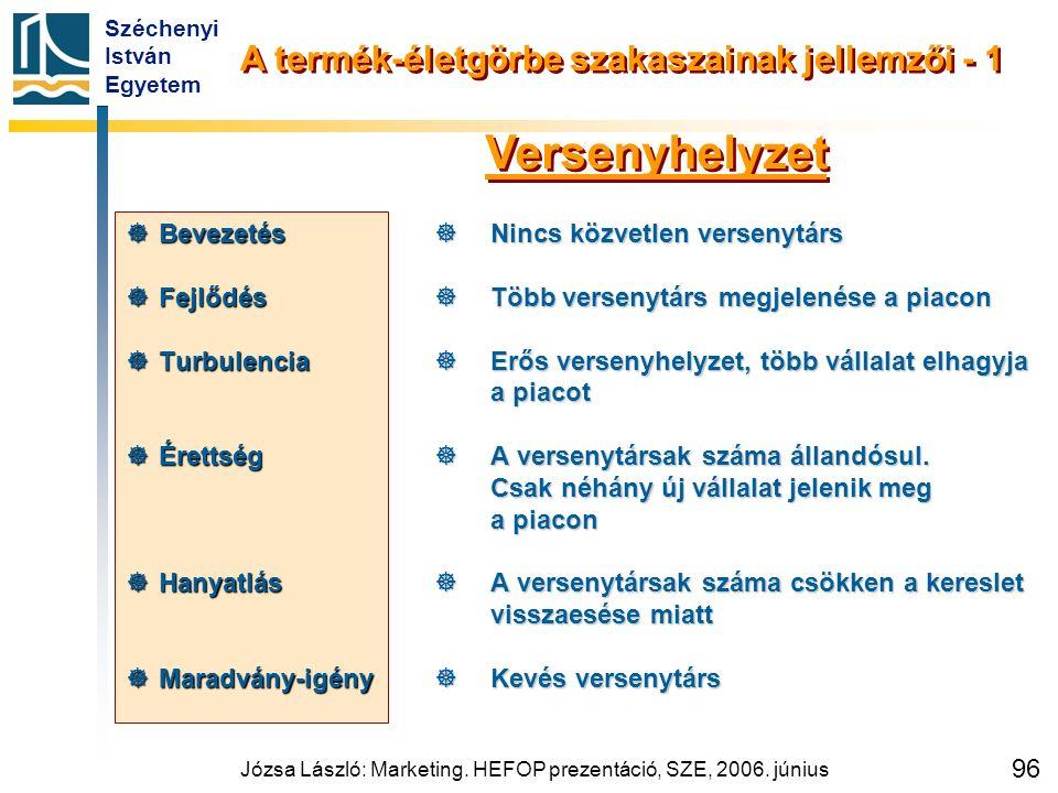 Széchenyi István Egyetem Józsa László: Marketing. HEFOP prezentáció, SZE, 2006. június 96 A termék-életgörbe szakaszainak jellemzői - 1  Bevezetés 