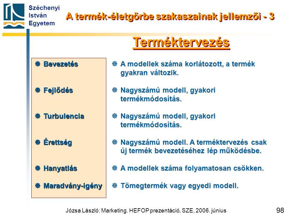 Széchenyi István Egyetem Józsa László: Marketing. HEFOP prezentáció, SZE, 2006. június 98  A modellek száma korlátozott, a termék gyakran változik. 
