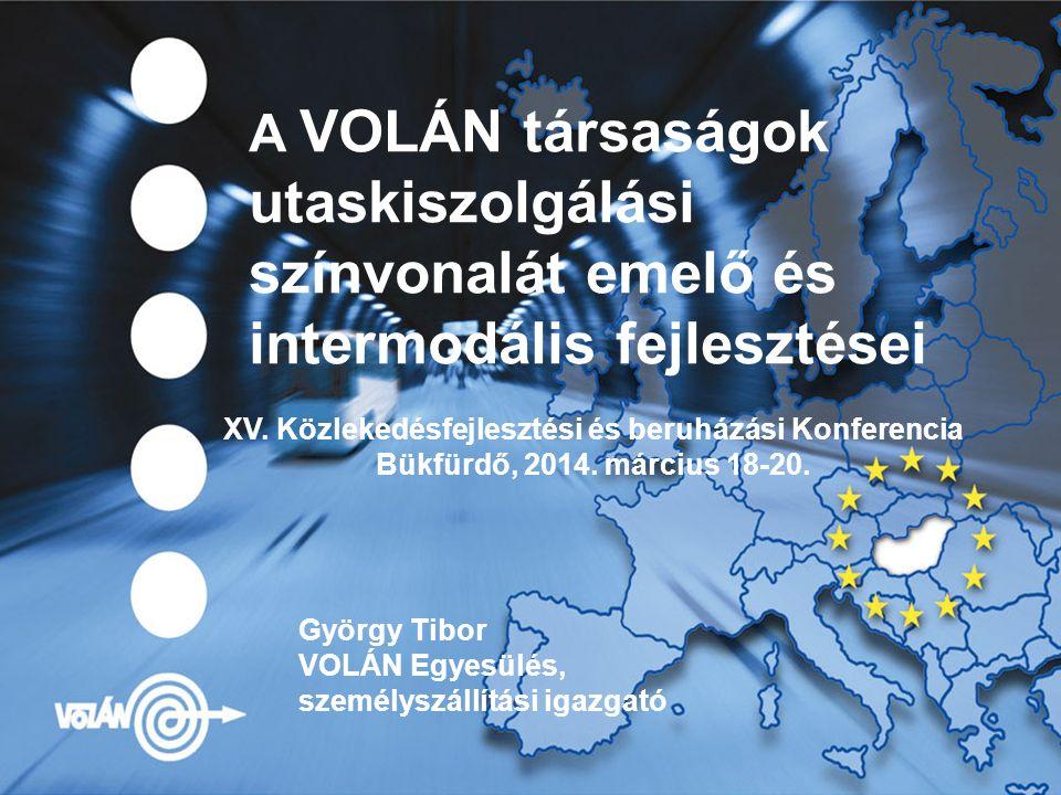 A VOLÁN társaságok utaskiszolgálási színvonalát emelő és intermodális fejlesztései György Tibor VOLÁN Egyesülés, személyszállítási igazgató XV.