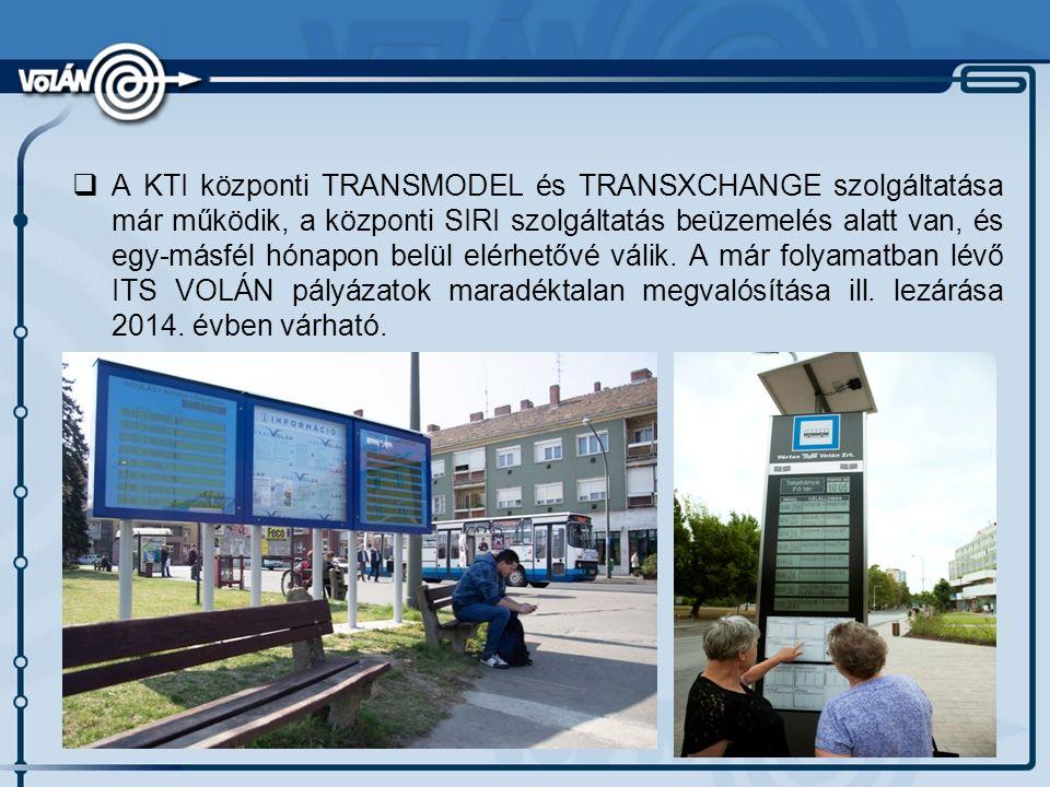  A KTI központi TRANSMODEL és TRANSXCHANGE szolgáltatása már működik, a központi SIRI szolgáltatás beüzemelés alatt van, és egy-másfél hónapon belül elérhetővé válik.