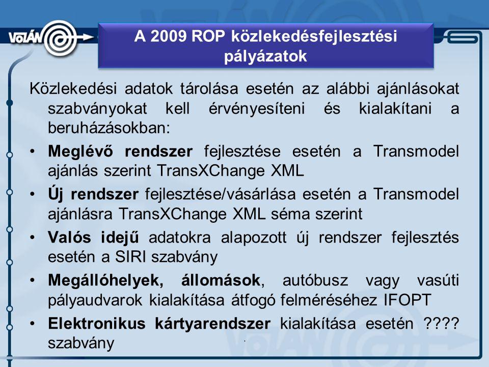 Közlekedési adatok tárolása esetén az alábbi ajánlásokat szabványokat kell érvényesíteni és kialakítani a beruházásokban: Meglévő rendszer fejlesztése esetén a Transmodel ajánlás szerint TransXChange XML Új rendszer fejlesztése/vásárlása esetén a Transmodel ajánlásra TransXChange XML séma szerint Valós idejű adatokra alapozott új rendszer fejlesztés esetén a SIRI szabvány Megállóhelyek, állomások, autóbusz vagy vasúti pályaudvarok kialakítása átfogó felméréséhez IFOPT Elektronikus kártyarendszer kialakítása esetén .