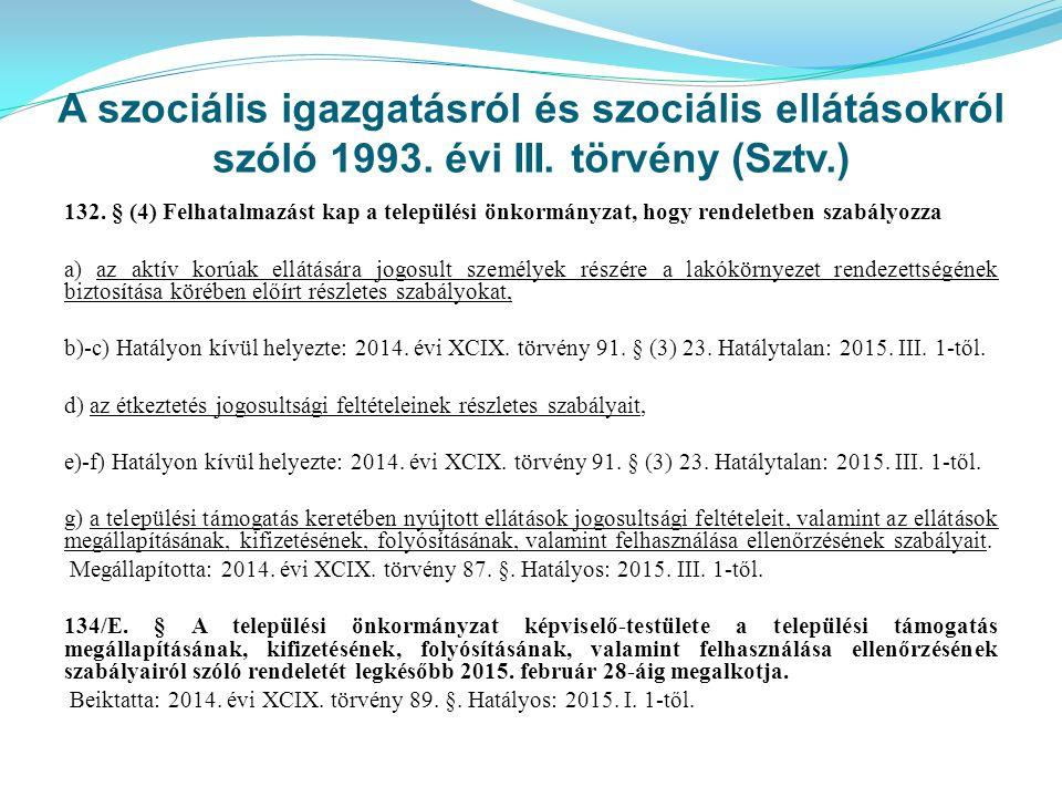 A szociális igazgatásról és szociális ellátásokról szóló 1993. évi III. törvény (Sztv.) 132. § (4) Felhatalmazást kap a települési önkormányzat, hogy