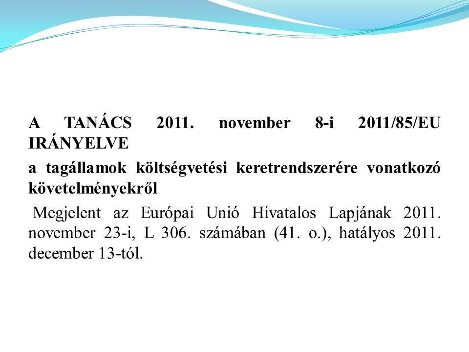 A TANÁCS 2011. november 8-i 2011/85/EU IRÁNYELVE a tagállamok költségvetési keretrendszerére vonatkozó követelményekről Megjelent az Európai Unió Hiva