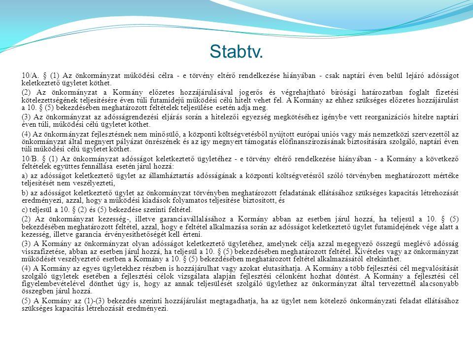 Stabtv. 10/A. § (1) Az önkormányzat működési célra - e törvény eltérő rendelkezése hiányában - csak naptári éven belül lejáró adósságot keletkeztető ü