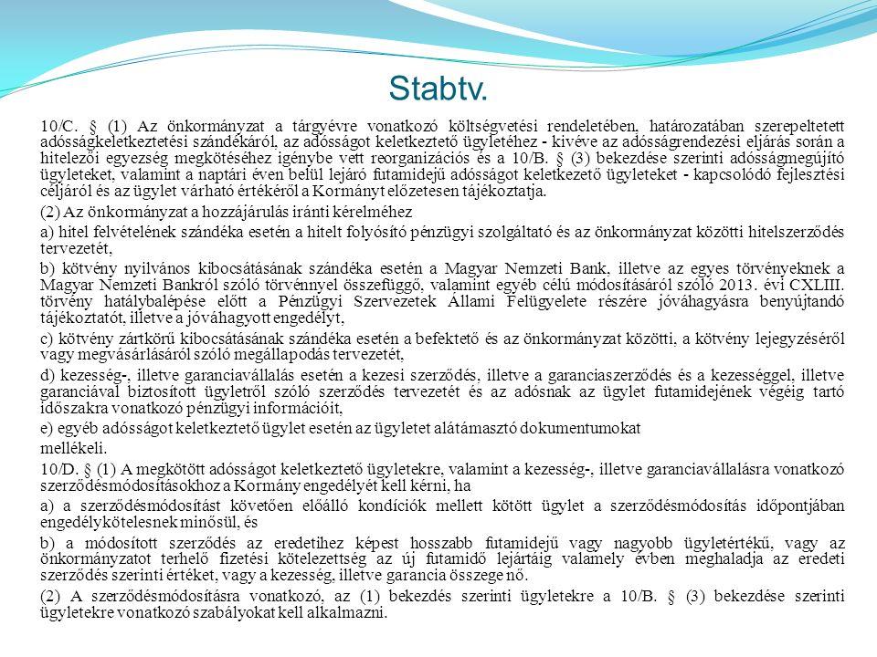 Stabtv. 10/C. § (1) Az önkormányzat a tárgyévre vonatkozó költségvetési rendeletében, határozatában szerepeltetett adósságkeletkeztetési szándékáról,