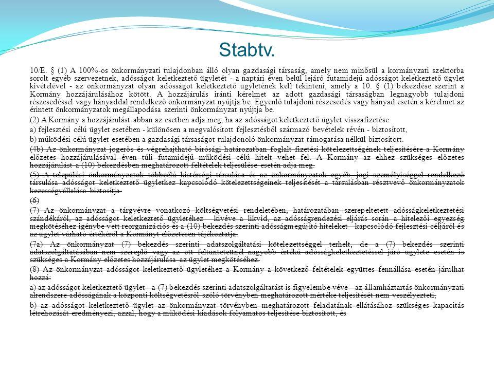 Stabtv. 10/E. § (1) A 100%-os önkormányzati tulajdonban álló olyan gazdasági társaság, amely nem minősül a kormányzati szektorba sorolt egyéb szerveze