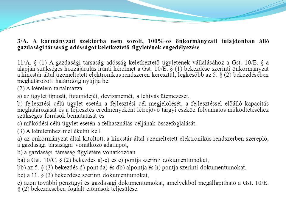 3/A. A kormányzati szektorba nem sorolt, 100%-os önkormányzati tulajdonban álló gazdasági társaság adósságot keletkeztető ügyletének engedélyezése 11/