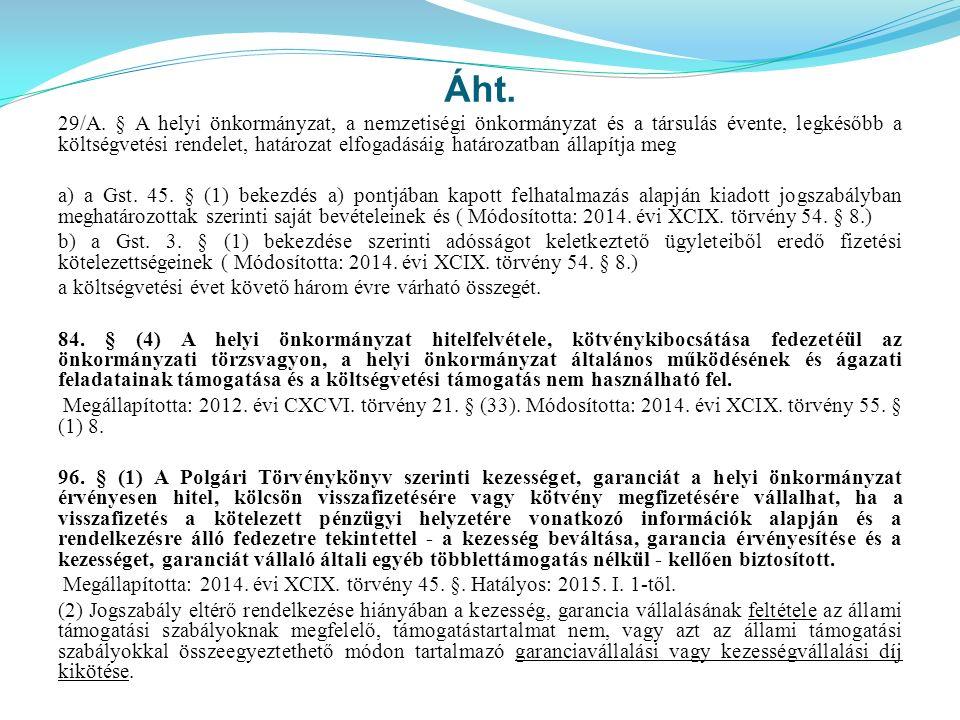 Áht. 29/A. § A helyi önkormányzat, a nemzetiségi önkormányzat és a társulás évente, legkésőbb a költségvetési rendelet, határozat elfogadásáig határoz