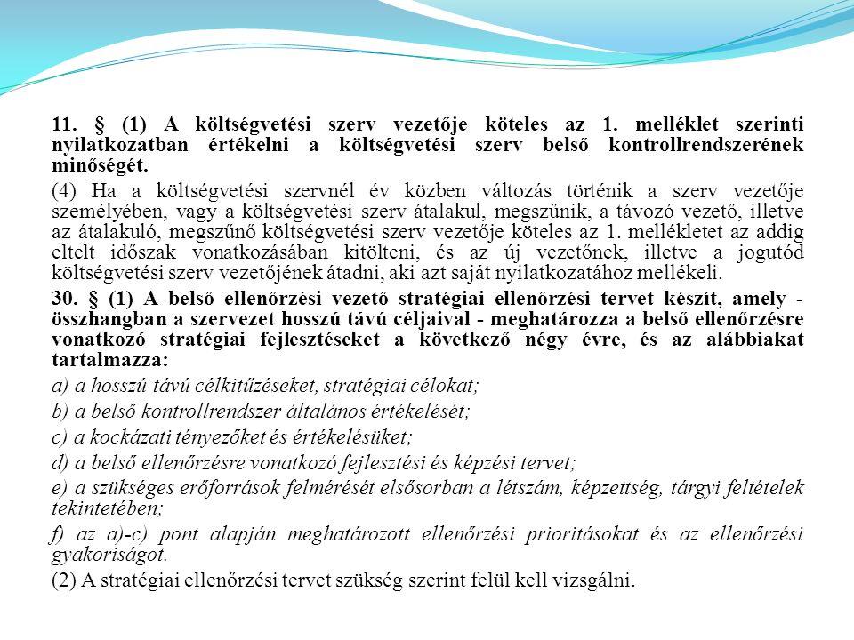 11. § (1) A költségvetési szerv vezetője köteles az 1. melléklet szerinti nyilatkozatban értékelni a költségvetési szerv belső kontrollrendszerének mi