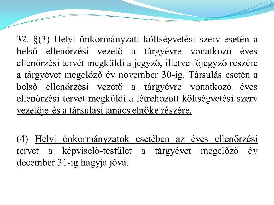 32. §(3) Helyi önkormányzati költségvetési szerv esetén a belső ellenőrzési vezető a tárgyévre vonatkozó éves ellenőrzési tervét megküldi a jegyző, il
