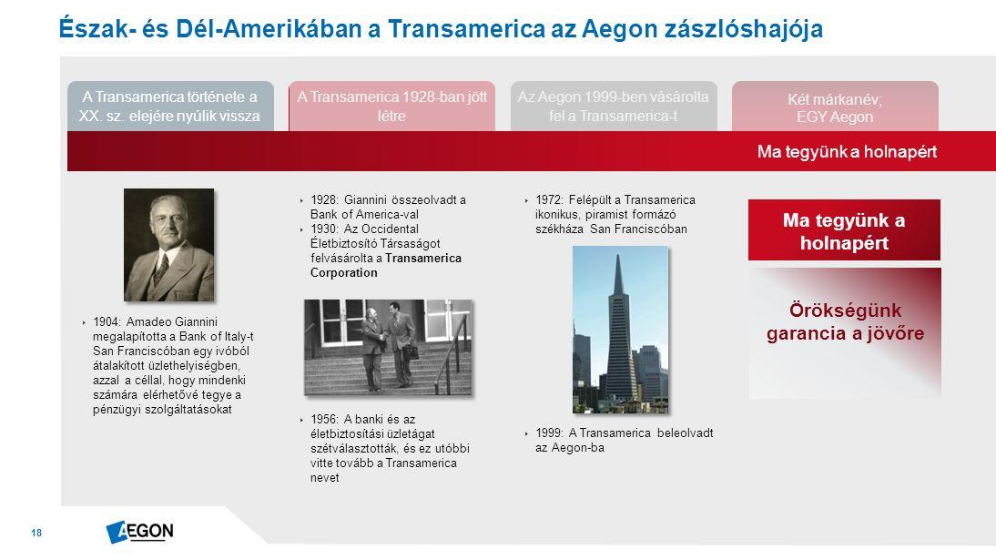 18 Két márkanév; EGY Aegon Az Aegon 1999-ben vásárolta fel a Transamerica-t <190019831983 - 2008Ma tegyünk a holnapért A Transamerica 1928-ban jött létre Észak- és Dél-Amerikában a Transamerica az Aegon zászlóshajója A Transamerica története a XX.