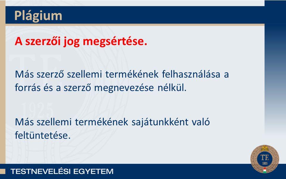 Plágium A szerzői jog megsértése.