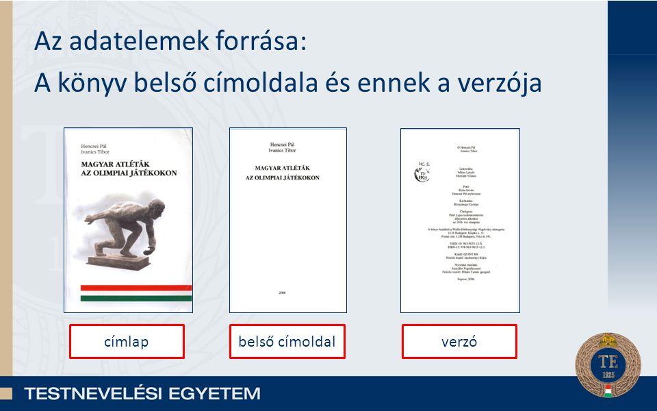 Az adatelemek forrása: A könyv belső címoldala és ennek a verzója címlapbelső címoldalverzó