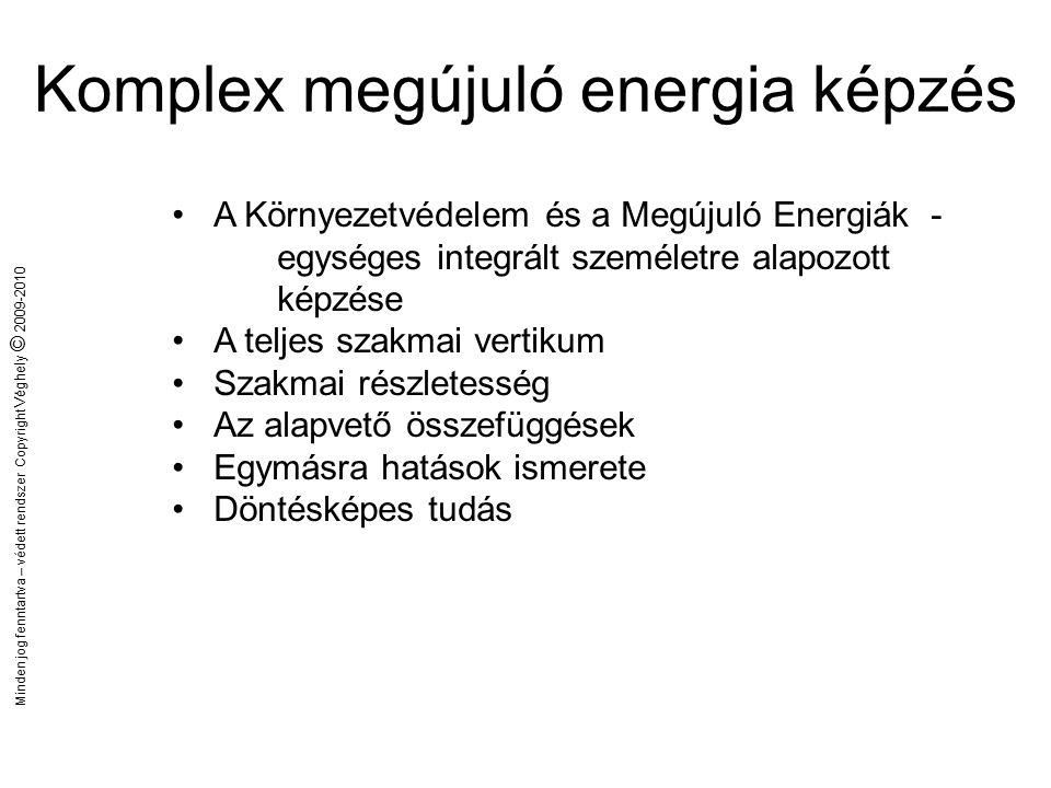 Minden jog fenntartva – védett rendszer Copyright Véghely © 2009-2010 Komplex megújuló energia képzés A komplex megújuló energia oktatás lényege, az egyes alkalmazási szegmensek szakmai részletességgel történő feldolgozásán túlmenően a főbb alapvető összefüggések, egymásra hatások feltárása és megismertetése.
