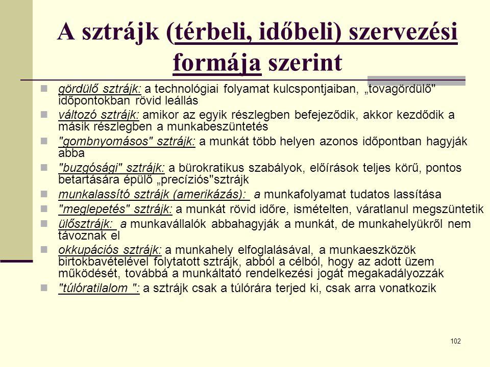 """102 A sztrájk (térbeli, időbeli) szervezési formája szerint gördülő sztrájk: a technológiai folyamat kulcspontjaiban, """"tovagördülő"""