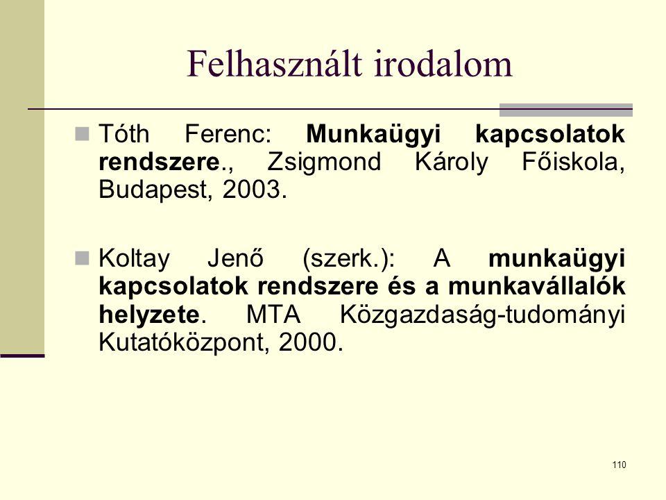 110 Felhasznált irodalom Tóth Ferenc: Munkaügyi kapcsolatok rendszere., Zsigmond Károly Főiskola, Budapest, 2003. Koltay Jenő (szerk.): A munkaügyi ka
