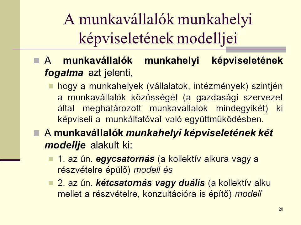 20 A munkavállalók munkahelyi képviseletének modelljei A munkavállalók munkahelyi képviseletének fogalma azt jelenti, hogy a munkahelyek (vállalatok, intézmények) szintjén a munkavállalók közösségét (a gazdasági szervezet által meghatározott munkavállalók mindegyikét) ki képviseli a munkáltatóval való együttműködésben.