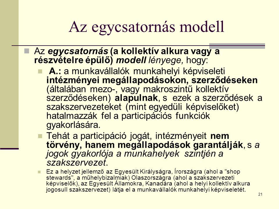 21 Az egycsatornás modell Az egycsatornás (a kollektív alkura vagy a részvételre épülő) modell lényege, hogy: A.: a munkavállalók munkahelyi képviseleti intézményei megállapodásokon, szerződéseken (általában mezo-, vagy makroszintű kollektív szerződéseken) alapulnak, s ezek a szerződések a szakszervezeteket (mint egyedüli képviselőket) hatalmazzák fel a participációs funkciók gyakorlására.