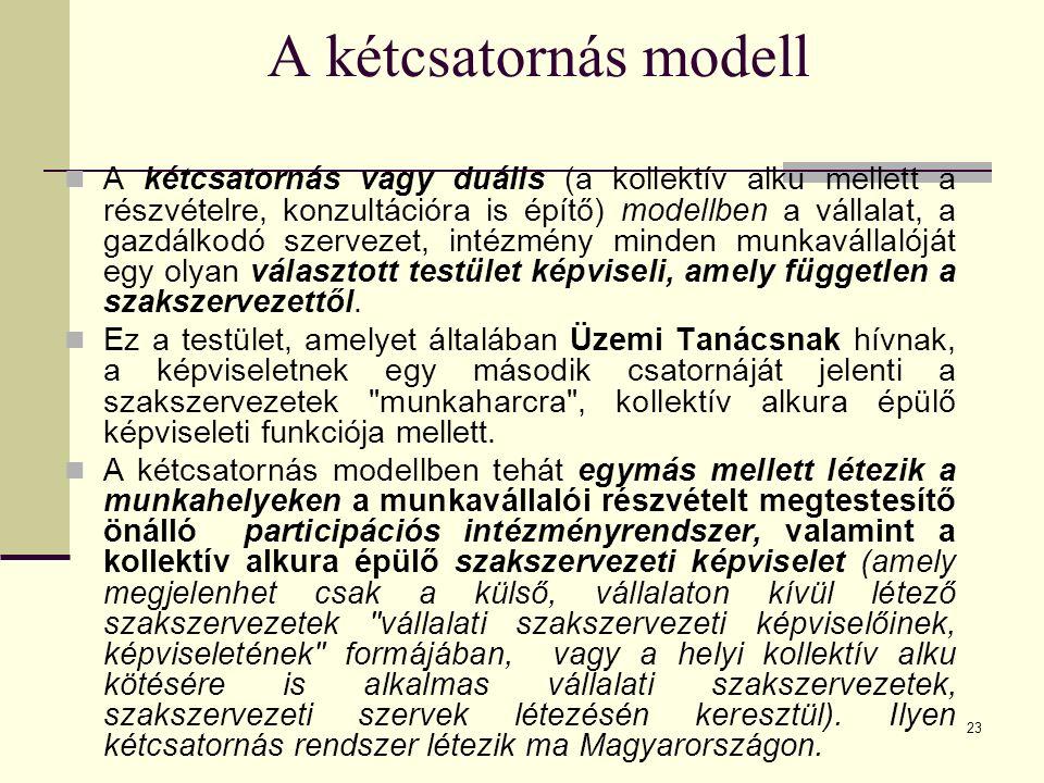 23 A kétcsatornás modell A kétcsatornás vagy duális (a kollektív alku mellett a részvételre, konzultációra is építő) modellben a vállalat, a gazdálkod
