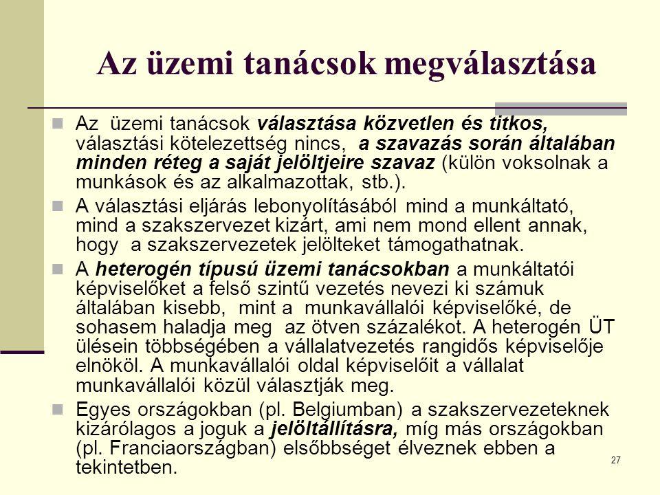 27 Az üzemi tanácsok megválasztása Az üzemi tanácsok választása közvetlen és titkos, választási kötelezettség nincs, a szavazás során általában minden