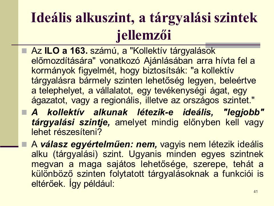 41 Ideális alkuszint, a tárgyalási szintek jellemzői Az ILO a 163. számú, a