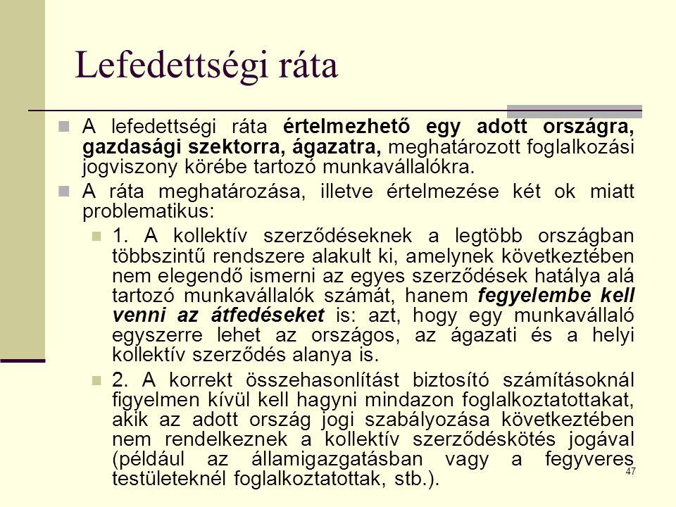 Lefedettségi ráta A lefedettségi ráta értelmezhető egy adott országra, gazdasági szektorra, ágazatra, meghatározott foglalkozási jogviszony körébe tar