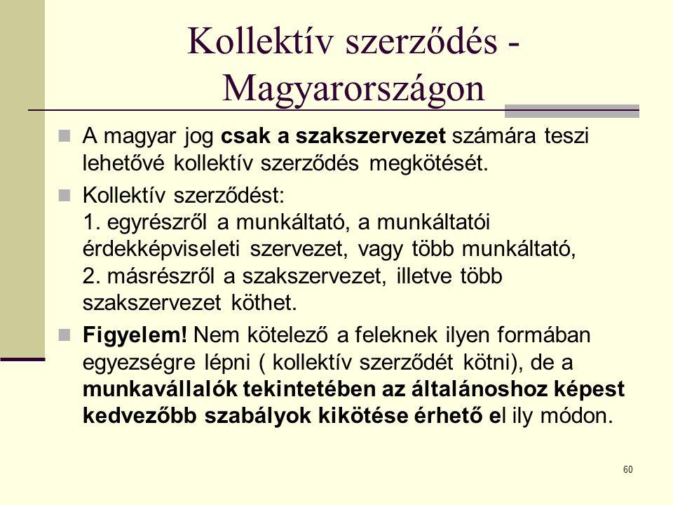 Kollektív szerződés - Magyarországon A magyar jog csak a szakszervezet számára teszi lehetővé kollektív szerződés megkötését. Kollektív szerződést: 1.