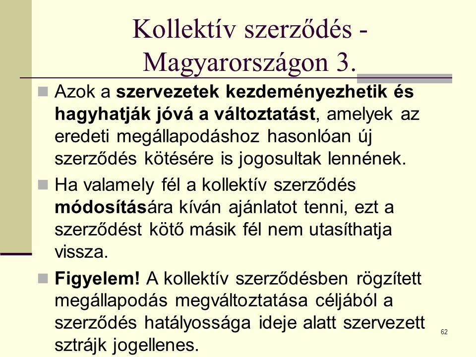 Kollektív szerződés - Magyarországon 3. Azok a szervezetek kezdeményezhetik és hagyhatják jóvá a változtatást, amelyek az eredeti megállapodáshoz haso