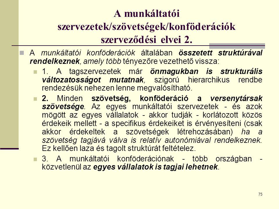 75 A munkáltatói szervezetek/szövetségek/konföderációk szerveződési elvei 2.