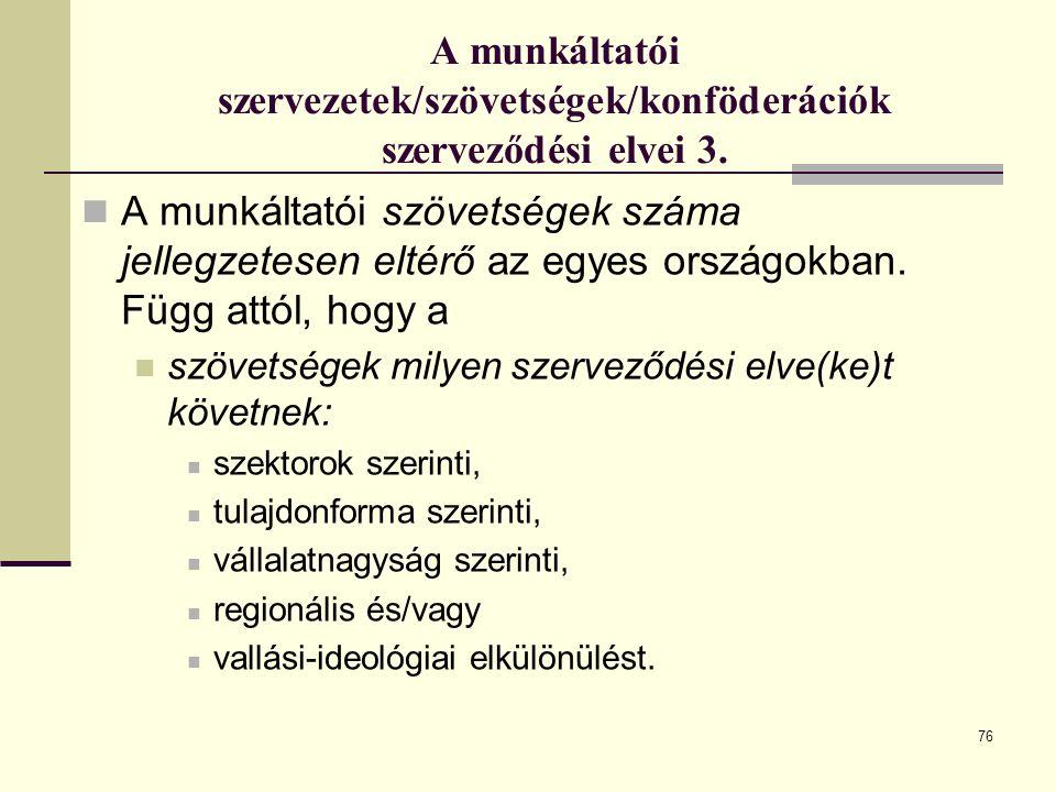 76 A munkáltatói szervezetek/szövetségek/konföderációk szerveződési elvei 3.
