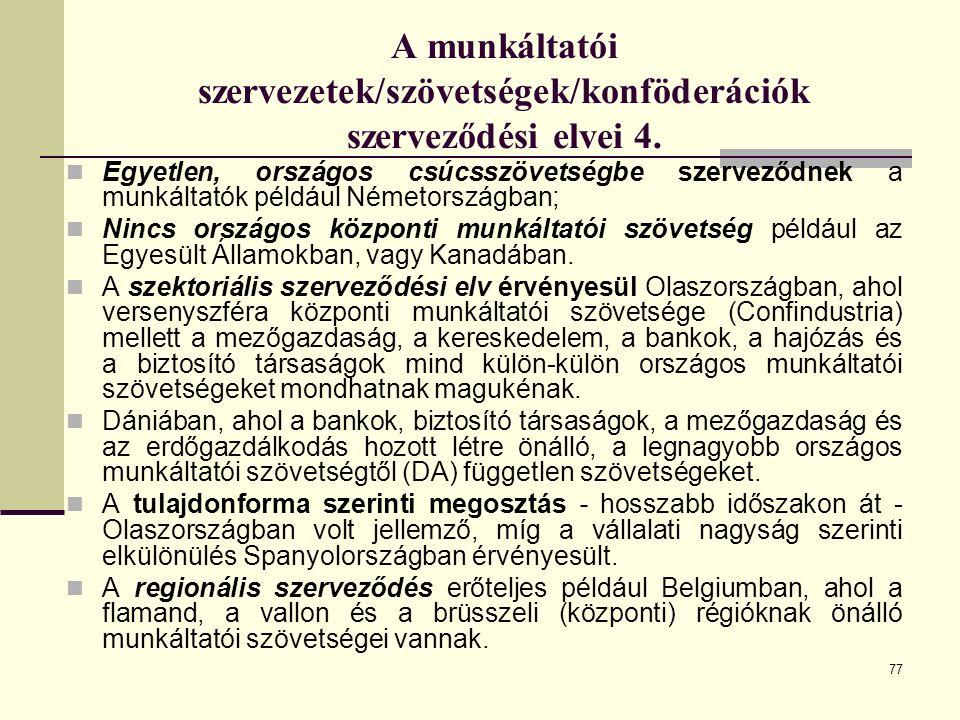 77 A munkáltatói szervezetek/szövetségek/konföderációk szerveződési elvei 4.