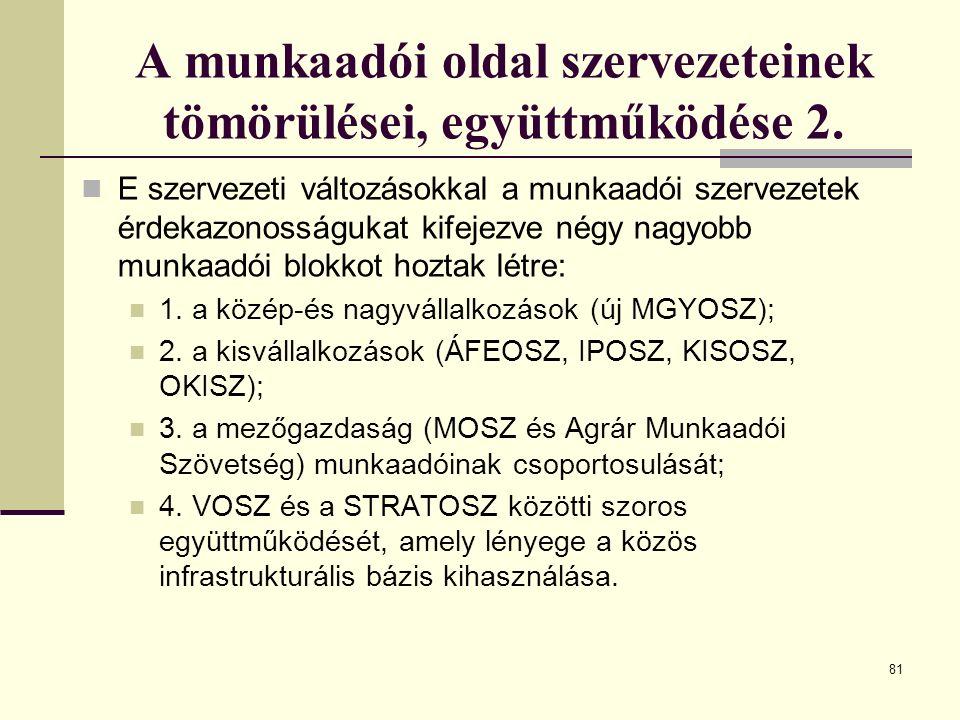 81 A munkaadói oldal szervezeteinek tömörülései, együttműködése 2. E szervezeti változásokkal a munkaadói szervezetek érdekazonosságukat kifejezve nég