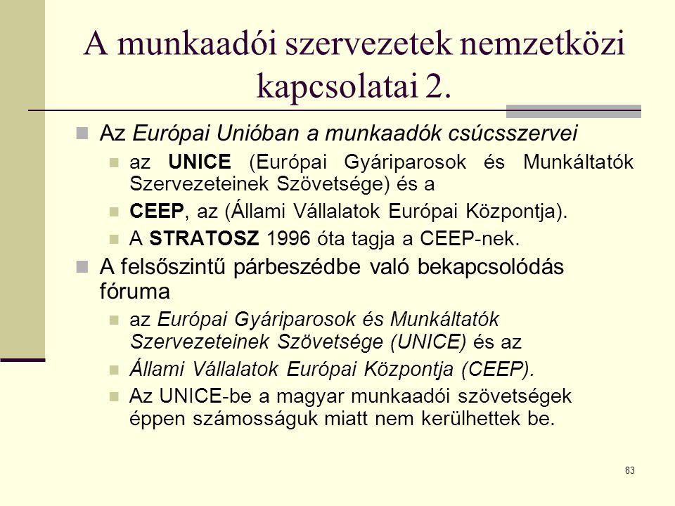 83 A munkaadói szervezetek nemzetközi kapcsolatai 2. Az Európai Unióban a munkaadók csúcsszervei az UNICE (Európai Gyáriparosok és Munkáltatók Szervez