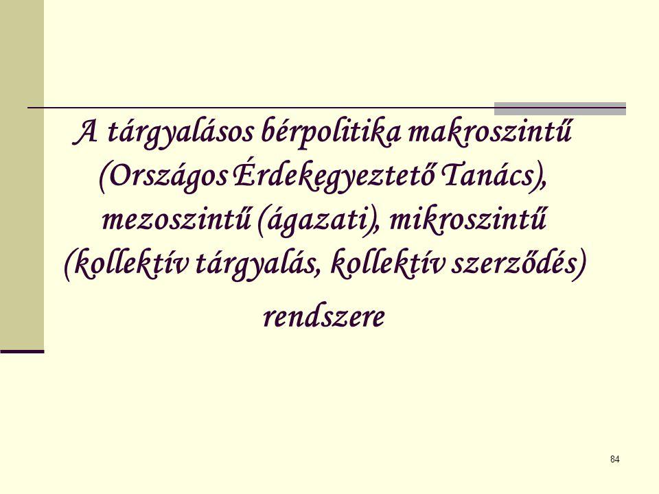 84 A tárgyalásos bérpolitika makroszintű (Országos Érdekegyeztető Tanács), mezoszintű (ágazati), mikroszintű (kollektív tárgyalás, kollektív szerződés
