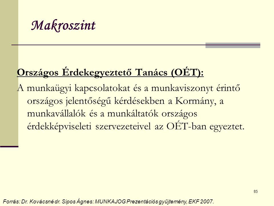 85 Makroszint Országos Érdekegyeztető Tanács (OÉT): A munkaügyi kapcsolatokat és a munkaviszonyt érintő országos jelentőségű kérdésekben a Kormány, a