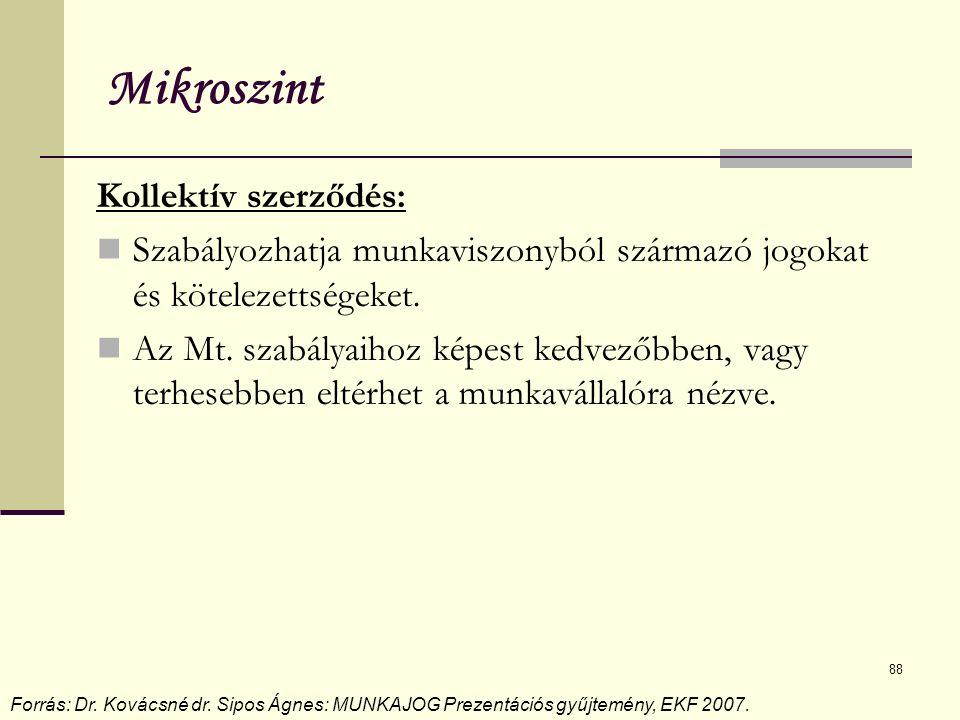 88 Mikroszint Kollektív szerződés: Szabályozhatja munkaviszonyból származó jogokat és kötelezettségeket. Az Mt. szabályaihoz képest kedvezőbben, vagy
