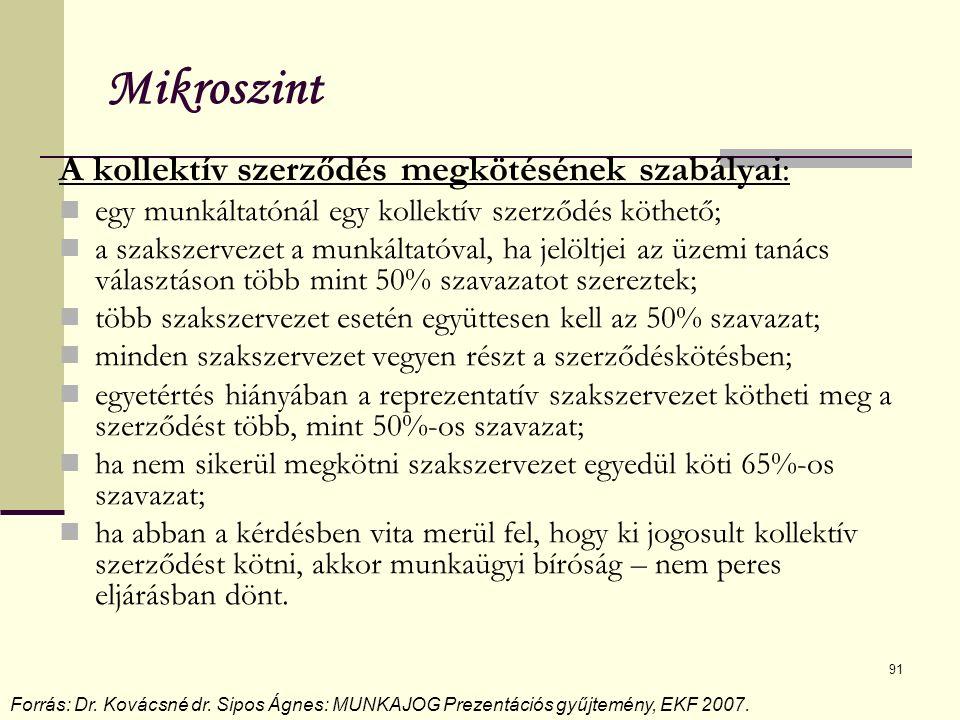 91 Mikroszint A kollektív szerződés megkötésének szabályai: egy munkáltatónál egy kollektív szerződés köthető; a szakszervezet a munkáltatóval, ha jelöltjei az üzemi tanács választáson több mint 50% szavazatot szereztek; több szakszervezet esetén együttesen kell az 50% szavazat; minden szakszervezet vegyen részt a szerződéskötésben; egyetértés hiányában a reprezentatív szakszervezet kötheti meg a szerződést több, mint 50%-os szavazat; ha nem sikerül megkötni szakszervezet egyedül köti 65%-os szavazat; ha abban a kérdésben vita merül fel, hogy ki jogosult kollektív szerződést kötni, akkor munkaügyi bíróság – nem peres eljárásban dönt.