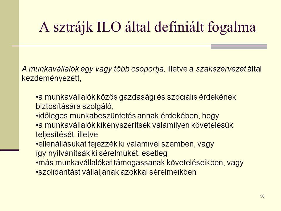 96 A sztrájk ILO által definiált fogalma A munkavállalók egy vagy több csoportja, illetve a szakszervezet által kezdeményezett, a munkavállalók közös