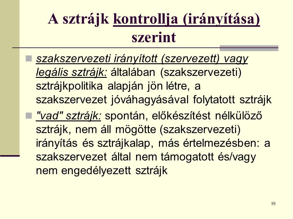 99 A sztrájk kontrollja (irányítása) szerint szakszervezeti irányított (szervezett) vagy legális sztrájk: általában (szakszervezeti) sztrájkpolitika a