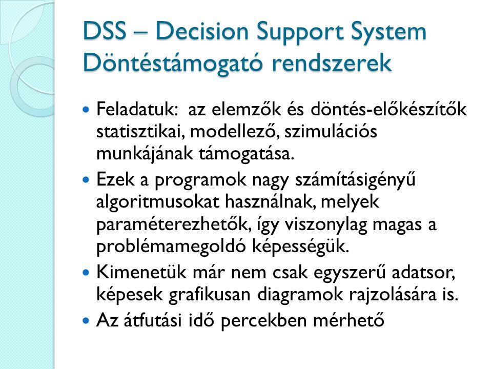 DSS – Decision Support System Döntéstámogató rendszerek Feladatuk: az elemzők és döntés-előkészítők statisztikai, modellező, szimulációs munkájának tá