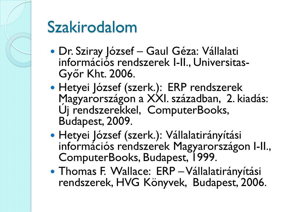 Szakirodalom Dr. Sziray József – Gaul Géza: Vállalati információs rendszerek I-II., Universitas- Győr Kht. 2006. Hetyei József (szerk.): ERP rendszere