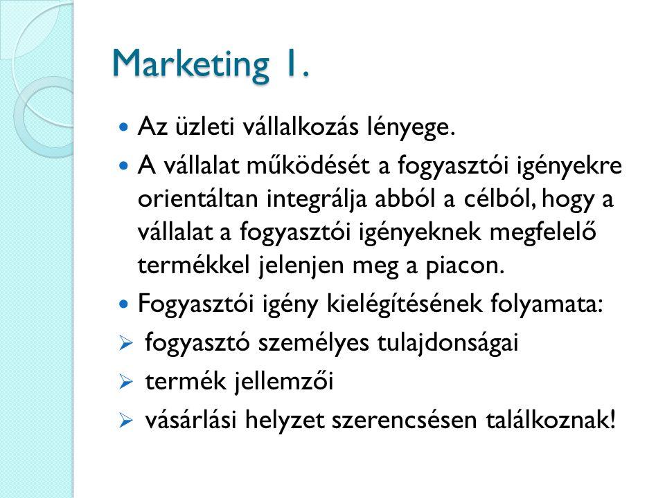 Marketing 1. Az üzleti vállalkozás lényege. A vállalat működését a fogyasztói igényekre orientáltan integrálja abból a célból, hogy a vállalat a fogya