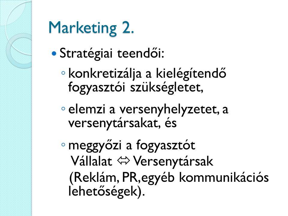 Marketing 2. Stratégiai teendői: ◦ konkretizálja a kielégítendő fogyasztói szükségletet, ◦ elemzi a versenyhelyzetet, a versenytársakat, és ◦ meggyőzi