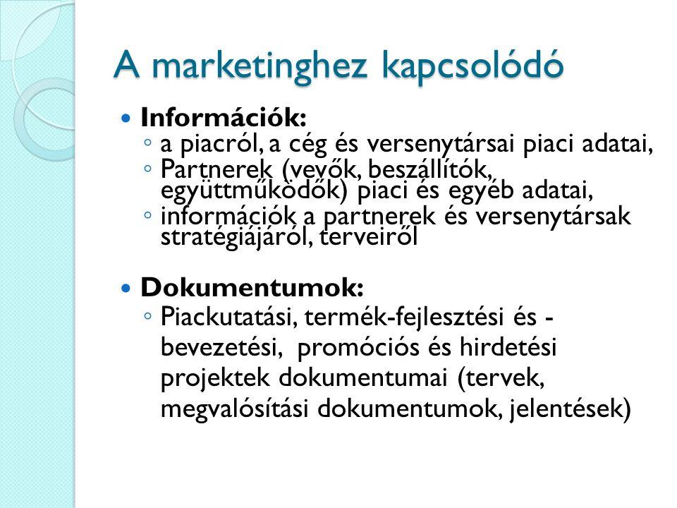 A marketinghez kapcsolódó Információk: ◦ a piacról, a cég és versenytársai piaci adatai, ◦ Partnerek (vevők, beszállítók, együttműködők) piaci és egyé