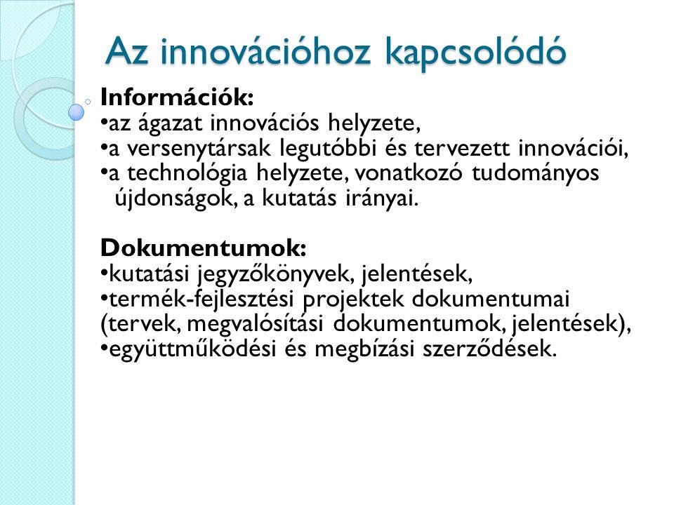 Az innovációhoz kapcsolódó Információk: az ágazat innovációs helyzete, a versenytársak legutóbbi és tervezett innovációi, a technológia helyzete, vona