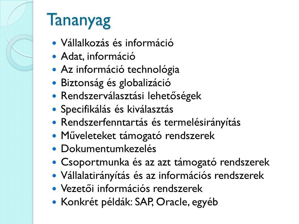 Tananyag Vállalkozás és információ Adat, információ Az információ technológia Biztonság és globalizáció Rendszerválasztási lehetőségek Specifikálás és