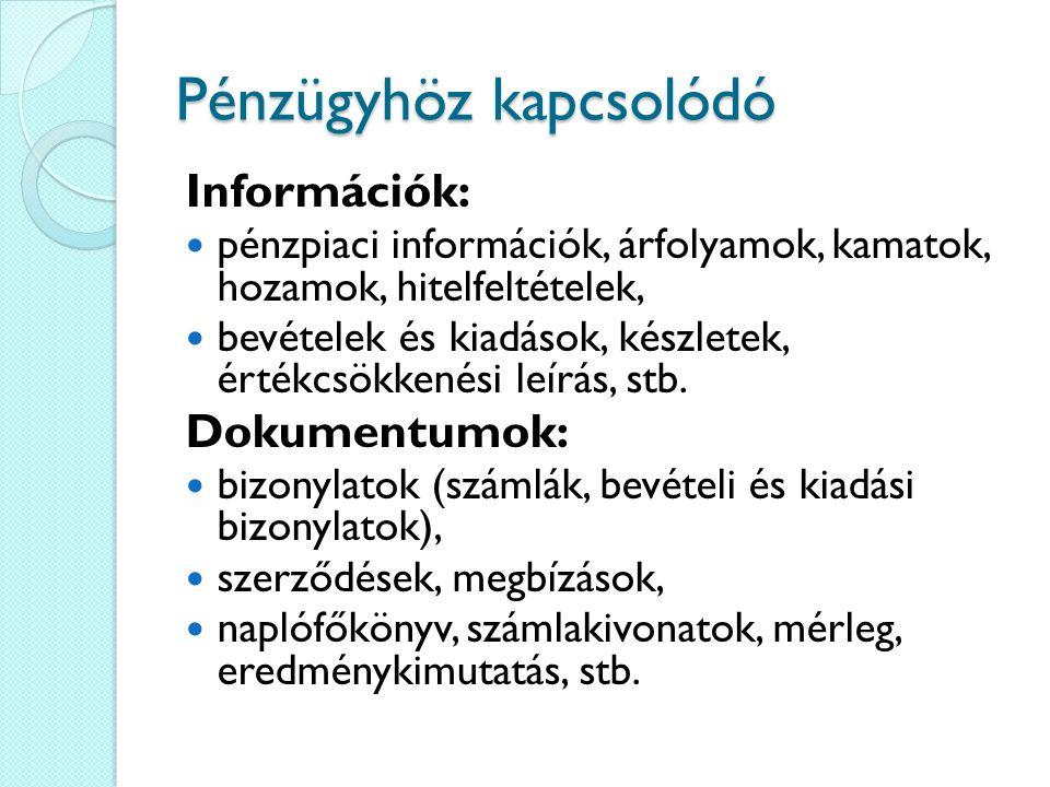 Pénzügyhöz kapcsolódó Információk: pénzpiaci információk, árfolyamok, kamatok, hozamok, hitelfeltételek, bevételek és kiadások, készletek, értékcsökke